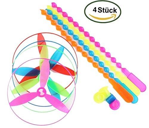 Adore center 4 Stück Windrad Twirly Propeller-Spiel Bunt Flugspiel