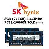 Hynix 8GB (2x 4GB) DDR3 1333MHz (PC3L 10600S) SO Dimm Low Voltage Notebook Laptop Arbeitsspeicher RAM Memory