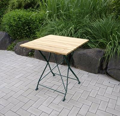 Klapptisch Bad Tölz 70x70cm, Stahl grün + Robinienholz