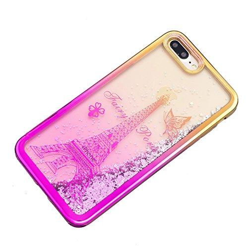Coque pour iPhone 7 Plus, LANDEE Transparente Liquide Paillette Brillante Plastique Arrière Protecteur Dur Etui Housse de Protection Étui Coque Strass Case Cover pour iPhone 7 Plus(iphone 7 Plus-HXLS- iphone 7 Plus-HXLS-06