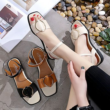LvYuan Da donna Sandali Finta pelle Estate Footing Fibbia Heel di blocco Nero Beige Marrone scuro 2,5 - 4,5 cm Dark Brown