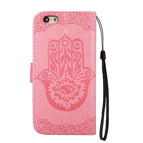 Geprägte Floweer Pattern Retro Style PU Ledertasche Cover mit Geldbörse Tasche & Lanyard & Kickstand für iPhone 6 Plus & 6s Plus ( Color : Rosegold ) Pink
