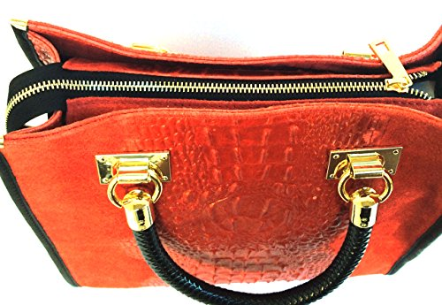 SUPERFLYBAGS Borsa Bauletto In Vera Pelle Camoscio stampa Coccodrillo Modello Isa Croco Made In Italy rosso