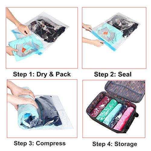 Sac sous Vide Pochette en Plastique Roll-Up Vacuum Bags iNeibo Set de 10 Housses de Rangement Sans Pompe 3 Tailles Sacs de Compression Étanche pour Voyage Stockage Vêtements