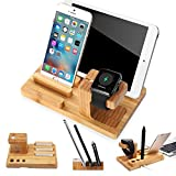 XPhonew Bambus Holz Ladestand Aufladung Docking Station / Cradle / Halter / Ladegerät Stand / Handy Halterung Compatible iPhone XS MAX XR X 8 7 6S Plus iPad Apple Watch 2 3 4 iWatch Smartphones Tablet