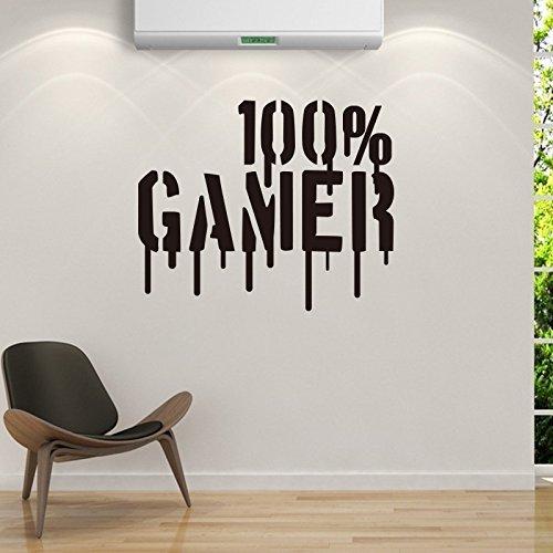 ahrzeug Extreme Sports Thema Sport Boy Silhouette Poster Wall Decals Jungen Teenager Kinderzimmer Spielzimmer Vinyl Wand Aufkleber Sport Zitate 100% Gamer ()