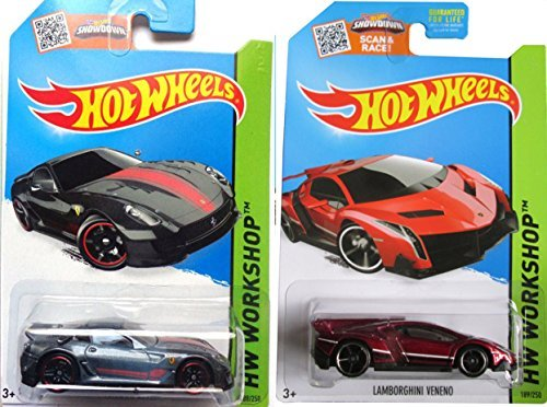 2015 Hot Wheels Ferrari 599XX & Red Lamborghini Veneno 2-car set by Hot Wheels