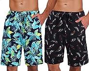 Ekouaer 2 Pack Men's Pajama Shorts Comfortable Lounge Sleep Shorts with Poc