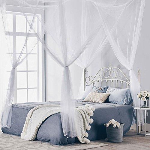 Elife 4corner post zanzariera, elegante a baldacchino–romantico letto a baldacchino con kit per appendere per letti matrimoniali, white, 190 x 210 x 240cm/74x82x94 inch