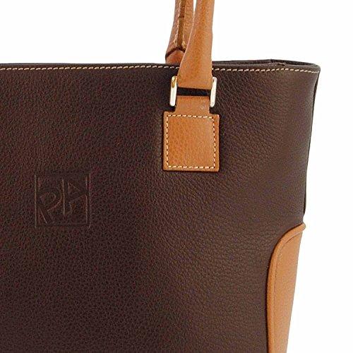 Shopping bag in pelle MARRON/CUERO