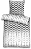 Biberna Sommer Bettwäsche »Jaida« stilvoll & modern Waben Look / Ornamente in grau - Kissenbezug 80x80 + Bettbezug 135x200 - 100 % Baumwolle mit Reißverschluss