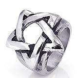 Beydodo Schmuck Gothic Edelstahl Ring für Herren Pentagram Sterne Freundschaftsring Silber Punk Ring Große 65 (20.7)
