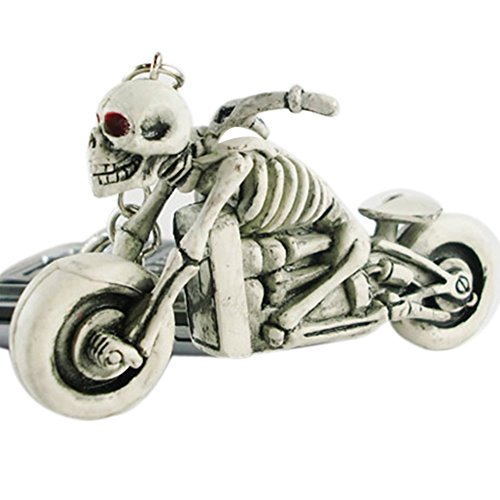Bluelans® Silber Schädel Motorrad Schlüsselanhänger aus Gummi Neuheit Weihnachtsg Geburtstagsgeschenk für ihren Freund