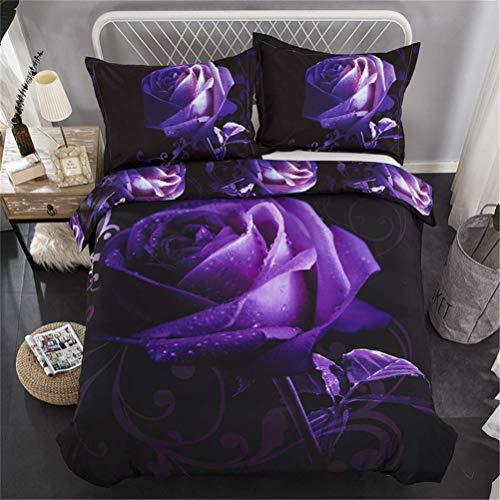 XWXBB 3D lila Rose Quilt Set Mikrofaser hypoallergen Bettwäsche Set 1 Set Bettbezug + 2 Kissen 3-teiliges Set (135x200cm) (Bettdecke, Kissen Einfügen)