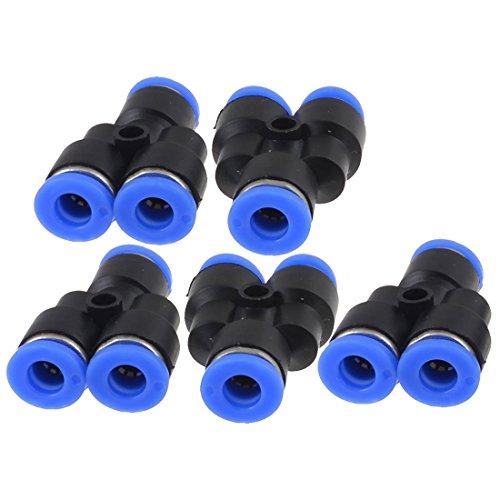 TOOGOO(R) 5 stk Luft pneumatische 6mm bis 6mm Y Form Push in Steckverbinder Schnelle Armaturen Schwarz+blau