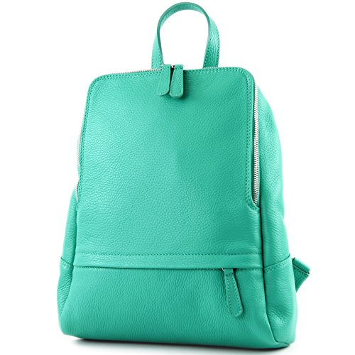 modamoda de - T138 - ital Damen Rucksacktasche aus Leder, Farbe:Mint - Mint Rucksack Handtasche