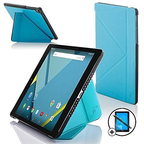Forefront Cases® - Nouveaux Origami étui case en cuir pour les Google Nexus 9 Tablette tactile 8,9''' - Protection complète de l'appareil et fonction intelligente de réveil automatique avec LA GARANTIE DE 3 ANS DE FOREFRONT CASES + Stylet et L'écran