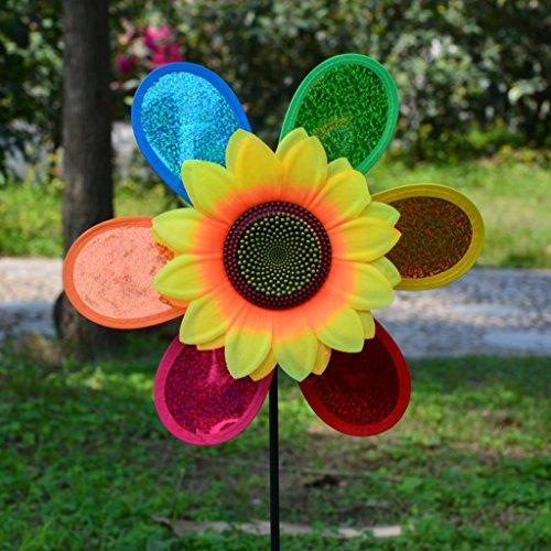 Coloré paillettes tournesol moulin à vent vent Spinner Home Garden Yard décoration