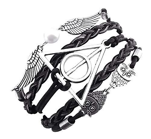 KIRALOVE Armband - geflochtenes Armband - Mago Harry - I Doni des Morte - Eulen - Flügel - Gold - Dreieck - Herren - Damen - Unisex - Modeschmuck (Schwarz - Silber) - Neue Schwarze Damen-tote