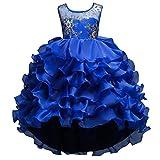 Qitun Niñas Vestido Elegante De Tutú Princesa Irregulares Traje De Fiesta Formal para Boda Cumpleaños Festividades Azul 130