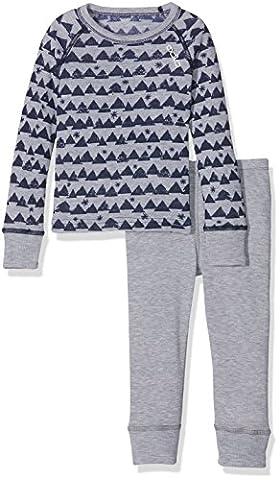 Odlo Kinder Warm Kids Shirt l/s Pants Long Unterwäsche/Sets Lang Ki, Peacoat/Grey Melange/Allover Print,