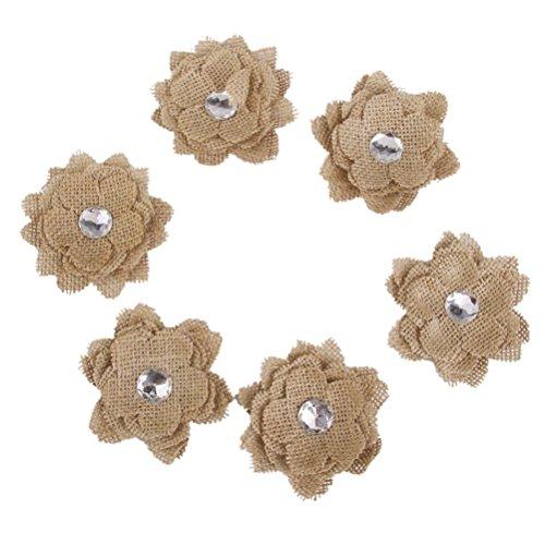 WINOMO 6pcs Leitet Hessischen Sackleinen Sonnenblume für Handwerk Rustikale Hochzeit Dekor