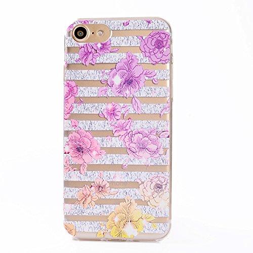 "Coque iPhone 7 , IJIA Ultra-mince Transparent Bleu Beau Roses TPU Doux Silicone Bumper Case Cover Shell Housse Etui pour Apple iPhone 7 4.7"" TT10"