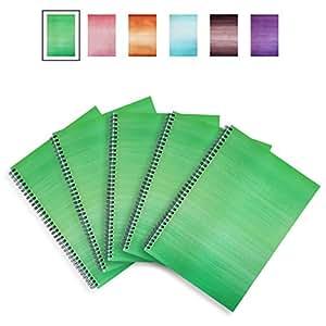 Lexy Notes–carnets A4/blocs/tampons–Spirale ringbound Carte pour –-Lot de 5 a4 Apple Green
