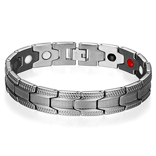 JewelryWe Schmuck Herren Magnetarmband + Link Removal Tool, 14mm Edelstahl Klassiker Link Magnetisch Armreif Magnete Armband Armkette, Silber