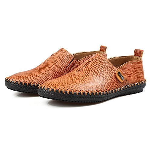Hommes Slip-On Leather Loafer Chaussures Casual Flats Marron Clair