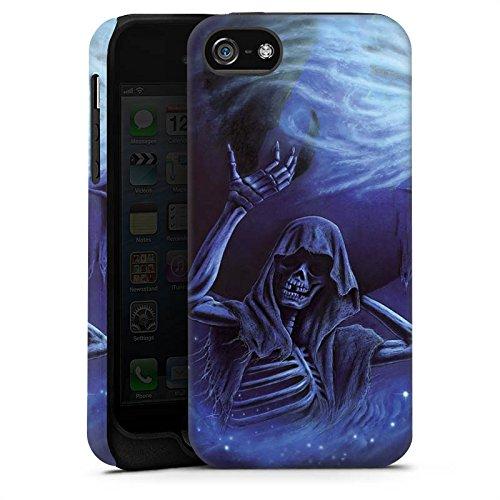 Apple iPhone 5s Housse Étui Protection Coque Crâne Os Tête de mort Cas Tough terne