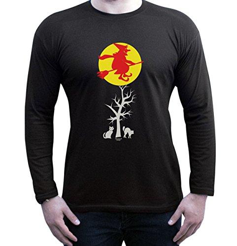 Halloween Langarm-Shirt Fun Motiv Hexe für Herren, Männer, Geschenk-idee Party-Outfit Kostüm Hexen Gespenster Geister Farbe: schwarz Schwarz