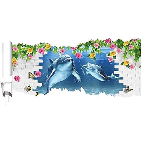 LLYY-Murale muro Adesivi Stickers 3D 3D carta strappata Decor Vinyl Wall Stickers, pittura camera da letto salotto divano prospettiva sfondo sfondi HD stickers adesivi murali verde pigmento #001 , E