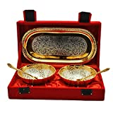 #4: SILVER AND GOLD PLATED BRASS BOWL TRAY WITH SPOON SET OF 5 PCS.