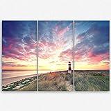 ge Bildet® hochwertiges Leinwandbild XXL Naturbilder Landschaftsbilder - Leuchtturm auf Sylt - strand natur Sonnenuntergang - 120 x 80 cm mehrteilig ( 3 teilig )| Wanddeko Wandbild Wandbilder Wohnzimmer deko Bild | 2212 T