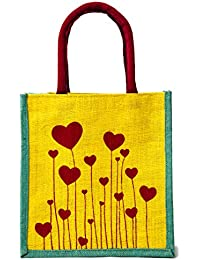 H&B Beautiful, Trendy & Stylish Yellow Color Jute Handbag/Quality Lunch Bag (Flower, Size, Height:11in, Length...