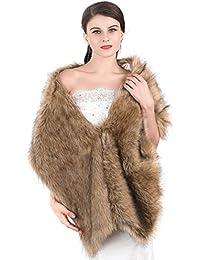 Aukmla Women's Fur Wraps For Wedding Faux Stole Shrug Winter Bridal Wedding Cover Up (Brown