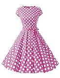 Dressystar Damen Vintage 50er Cap Sleeves Dot Einfarbig Rockabilly Swing Kleider Rosa Weiß Dot B L