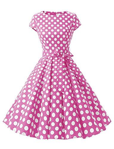 Dressystar Damen Vintage 50er Cap Sleeves Dot Einfarbig Rockabilly Swing Kleider Rosa Weiß Dot B XXXL (White Sleeve Cap Dress)