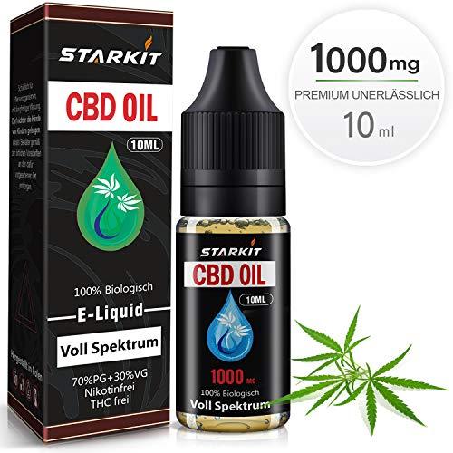 STARKIT® CBD Vollesspektrum Liquids 1000mg, Vape Öl 10ml mit 10{dafbd0498f38a7a3dea14baa4001367da4187a8d6bae0e8224c9d026c95714cc} Cannabidiol Hanf Öl für E Zigaretten Starter Set SMOK E Shisha, PG70/VG30 E Liquid, ohne Nikotin, ohne THC (VollesSpektrum, 1000mg)