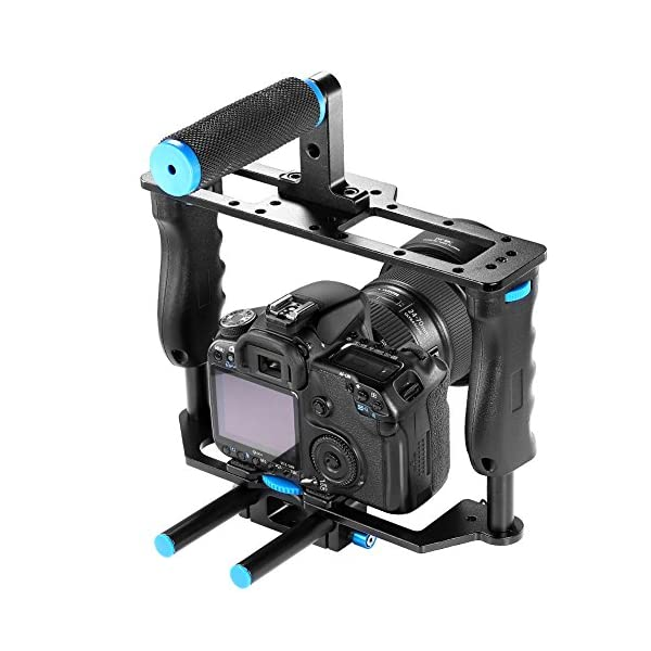 Neewer® Aluminum Alloy Camera Video Cage Film Movie Making Kit include:(1)Video Cage(1)Top Handle Grip(2)15mm Rod for…