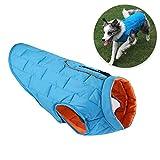 IW.HLMF Cappotto Invernale Cane Morbido Caldo Cucciolo Giacca Riflettente Reversibile Impermeabile Vestiti per Cani per Cani di Grandi Dimensioni,Blue,XL