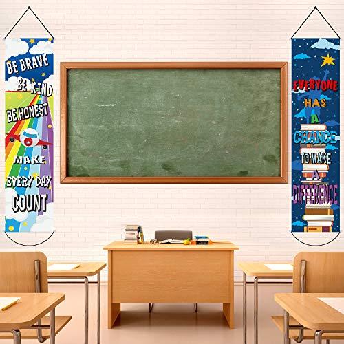 2 Packung Motivierend Klassenzimmer Banner/Poster Positiv Banner Inspirierend Banner für Studenten - 12 x 48 Zoll Pädagogische Lehrer Klassenzimmer Dekorationen Banner