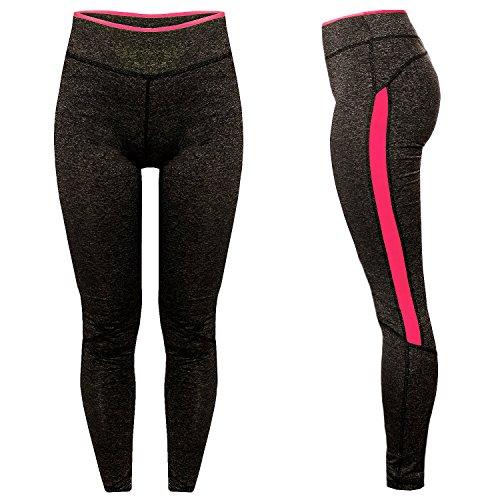 L&K-II - Legging de sport - À Rayures - Femme Capri Jogging Yoga 4113 Lot de 2 (Neon Rose & Neon Vert)