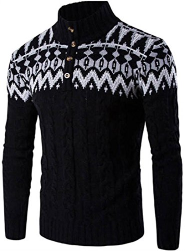 Jeansian Hommes Mode Manteau pull Cardigan Casual Men's Long Sleeve Wool Knitted Jumpers Pullover Sweater Winter Tops 88G5 Black