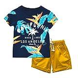 Garçons Coton Manche Courte Chemise + Short Ensemble de Vêtements d'été 2 Pièces pour Enfants