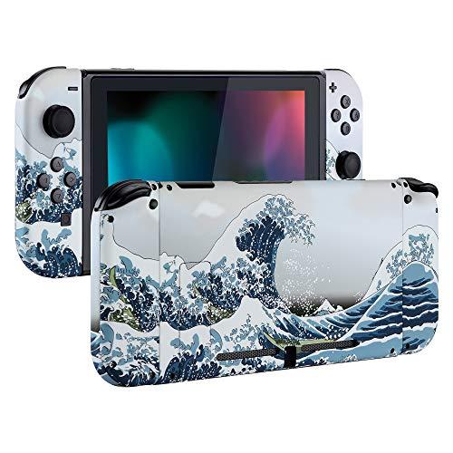 eXtremeRate Hülle Case Schutzhülle Cover Schale Tasche Gehäuse Shell Kit für Nintendo Switch Console, NS Joycon Controller mit Buttons, DIY-Ersatzschale für Nintendo Switch(Welle)