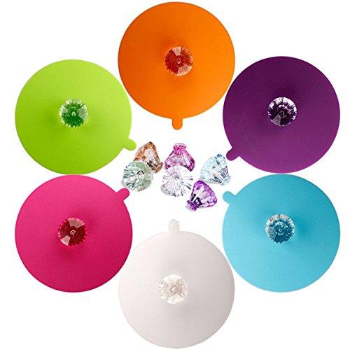creativa de la taza de la categoría alimenticia de IPHOX Anti-polvo, sello hermético, tapas de la taza de la bebida del silicón, tapas de los potes y tapas de las cacerolas (Diamond, Set of 6 )
