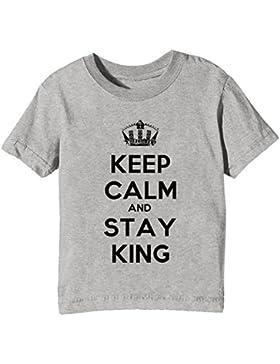 Keep Calm And Stay King Niños Unisexo Niño Niña Camiseta Cuello Redondo Gris Manga Corta Todos Los Tamaños Kids...