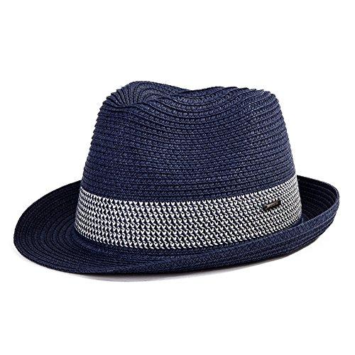 Strohhut Panamahut Sonnenhut Fedora Hut Handgemacht Herren schwarzblau L SIGGI